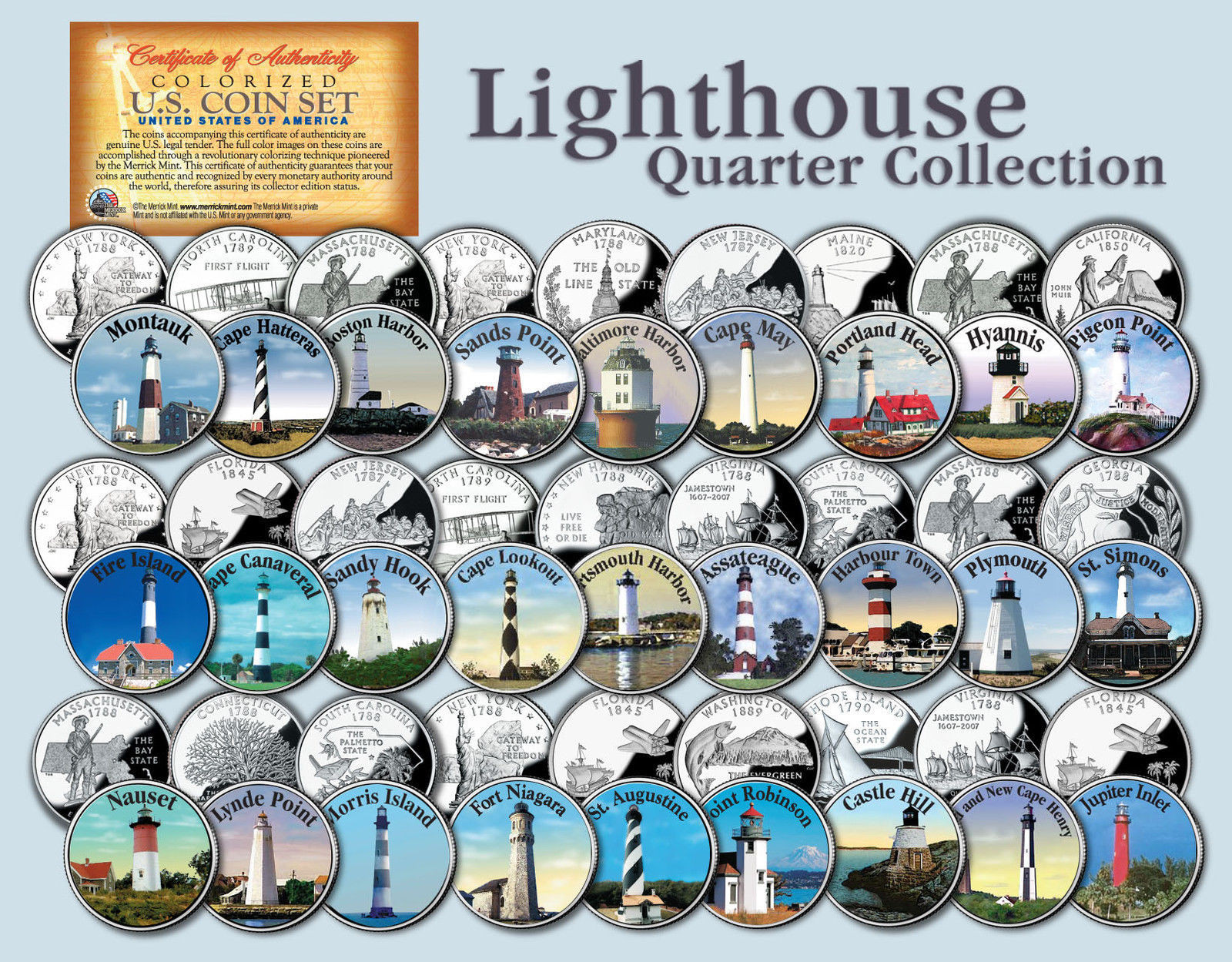 Historic American LIGHTHOUSES Colorized US Statehood