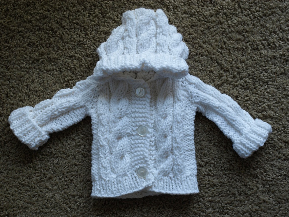 "Elegant Hooded Cable Knit Baby Sweater Made to order Cable Knit Sweater Pattern Of New Lace & Cable Sweater Dk Wool 30"" 40"" Knitting Cable Knit Sweater Pattern"