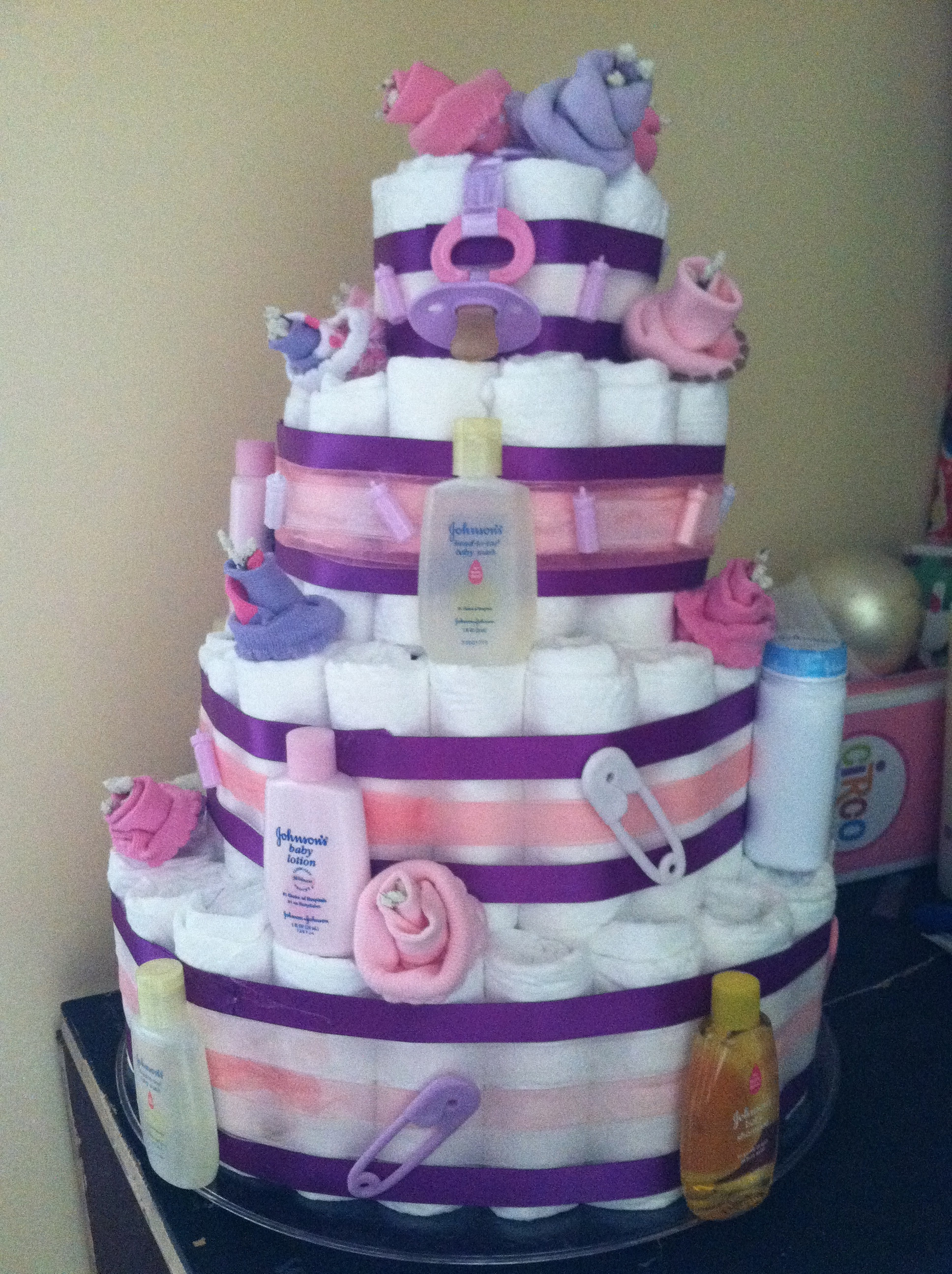 How To Make Diaper Cake Centerpieces For A Baby Shower d