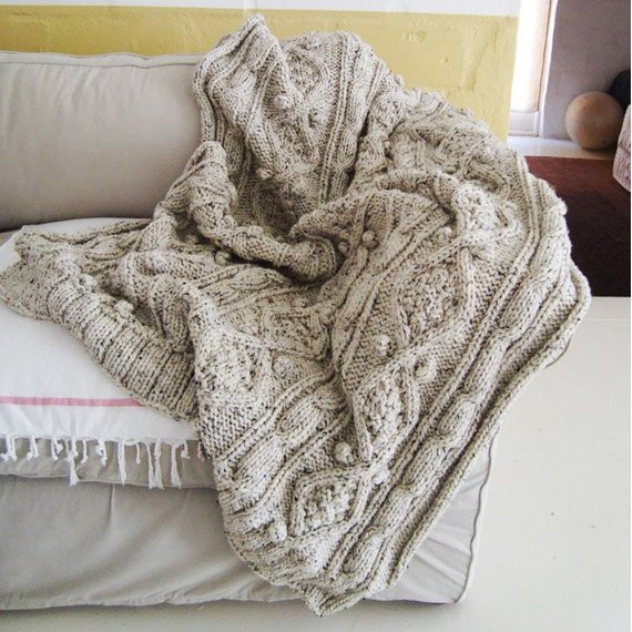 Elegant Items Similar to Chunky Oatmeal Cable Knit Throw On Etsy Cable Knit Sweater Blanket Of Incredible 50 Photos Cable Knit Sweater Blanket