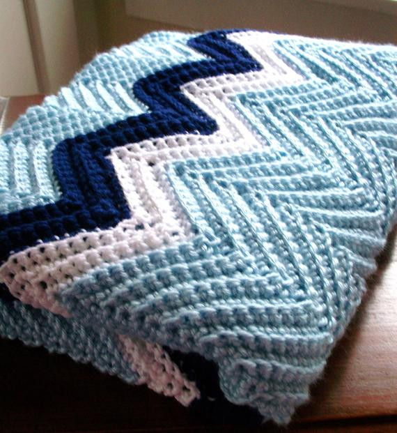 Elegant Items Similar to Crochet Chevron Blanket Afghan In Blue Zig Zag Crochet Afghan Pattern Of New 43 Pics Zig Zag Crochet Afghan Pattern