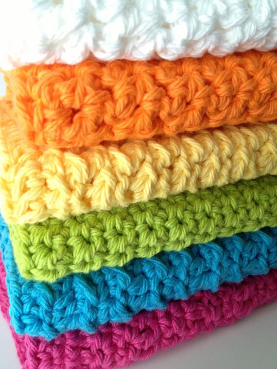Elegant Items Similar to Crocheted Dish Rags Wash Cloths In Spring Crochet Dish Rags Of Top 42 Models Crochet Dish Rags