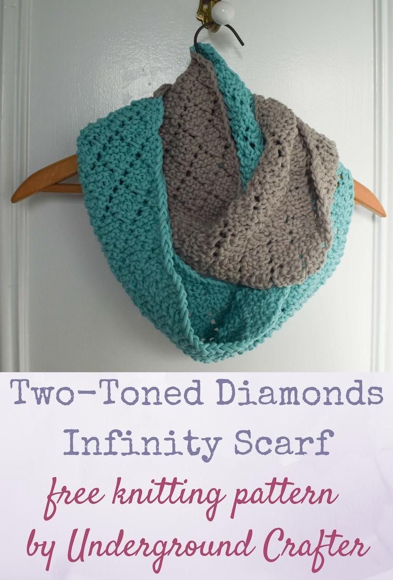 Elegant Knitting Pattern Two toned Diamonds Infinity Scarf Free Infinity Scarf Pattern Of Marvelous 48 Images Free Infinity Scarf Pattern