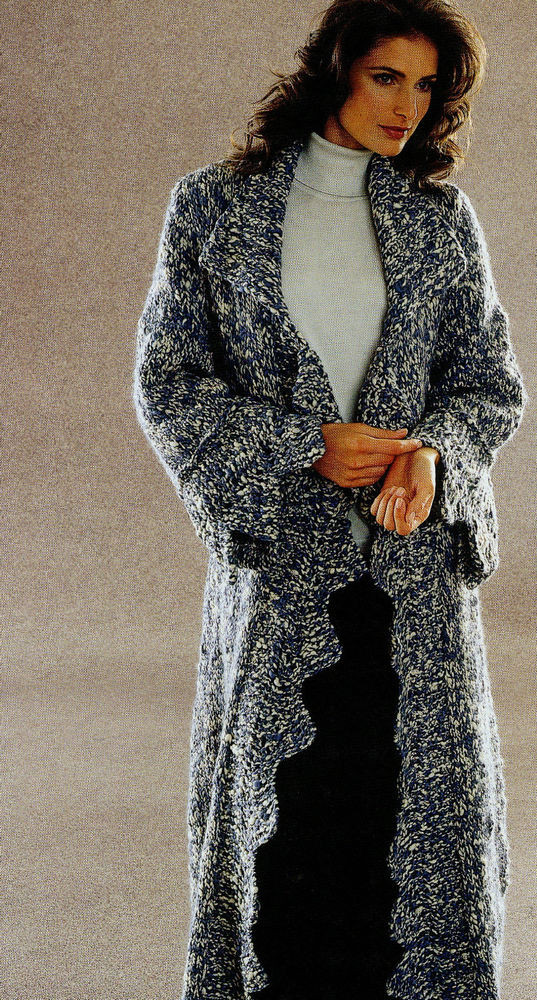 Knitting Pattern Womens Jaeger Poncho Long Sweater Coat