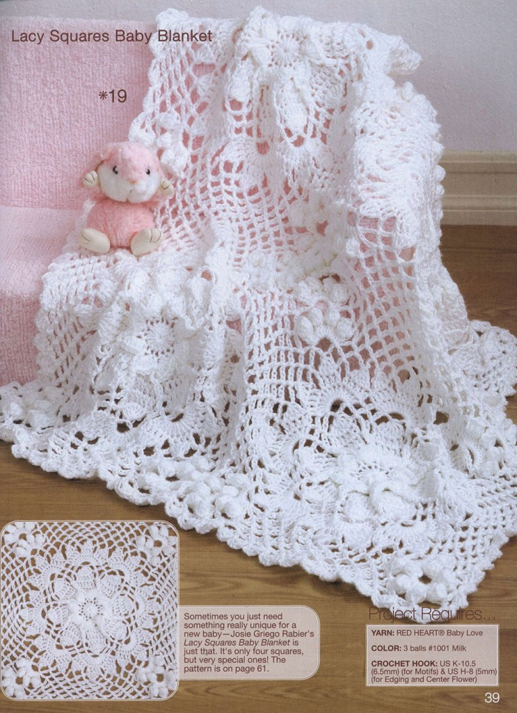 Lace Squares Crochet Baby Blanket ⋆ Crochet Kingdom