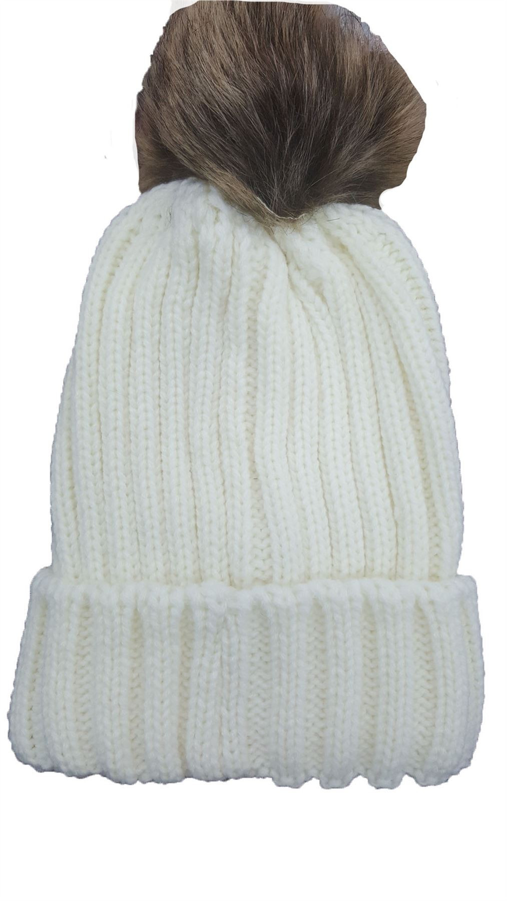 Elegant Ladies Ribbed Knit Winter Beanie Turn Up Hat with Fur Pom Ladies Knitted Hats Of Adorable 50 Pictures Ladies Knitted Hats