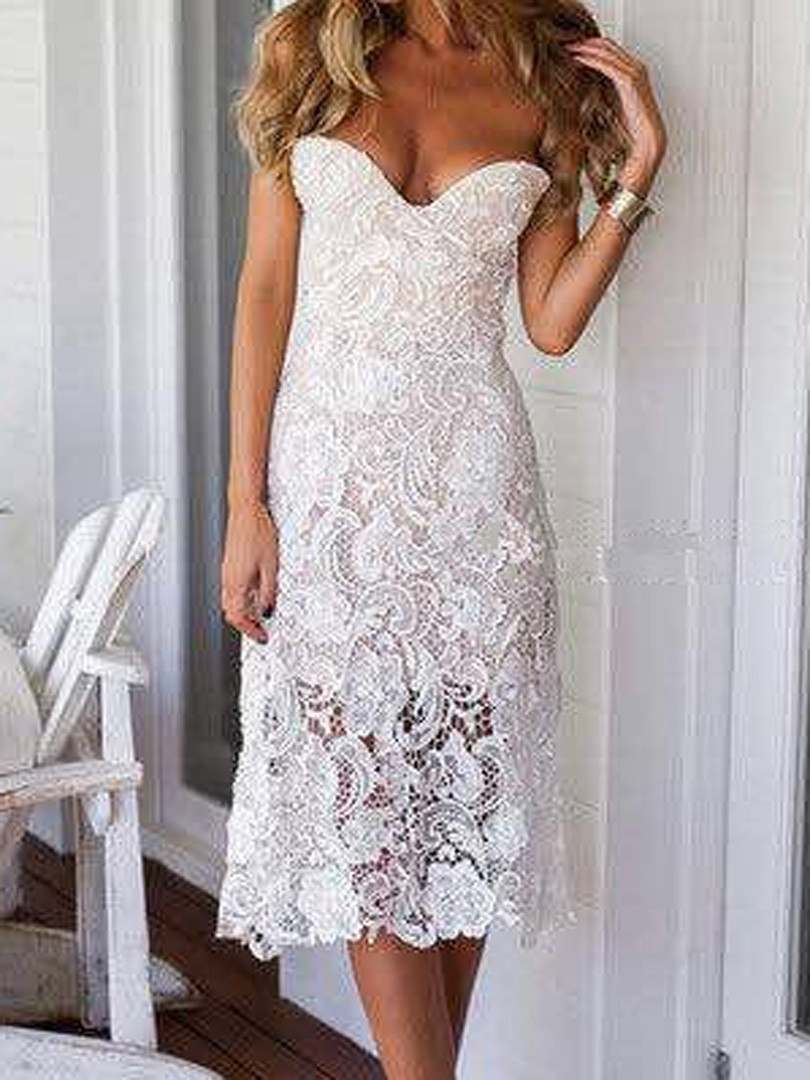 Elegant Limited Edition Y Petitive Price Beige Semi Sheer Crochet Trim Dresses Of Attractive 47 Images Crochet Trim Dresses