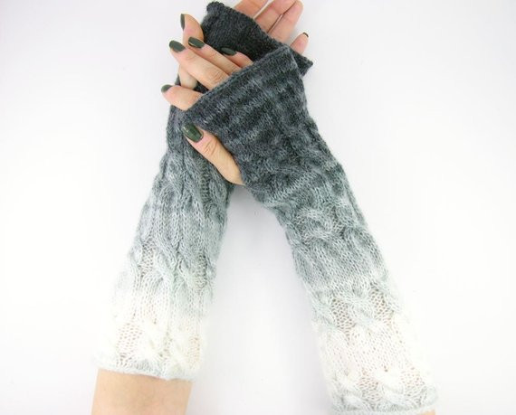 long knit fingerless gloves knit arm warmers fingerless