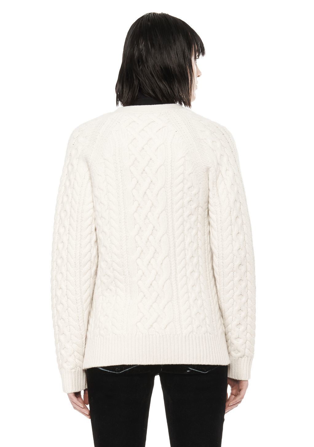 Elegant Lyst Alexander Wang Cable Knit V Neck Cardigan In White V Neck Cable Knit Sweater Of Great 44 Pictures V Neck Cable Knit Sweater