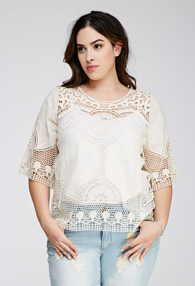 Elegant Lyst forever 21 Crocheted Floral Embroidered top In Natural Crochet tops forever 21 Of Beautiful forever 21 Scalloped Crochet top In Beige Cream Crochet tops forever 21