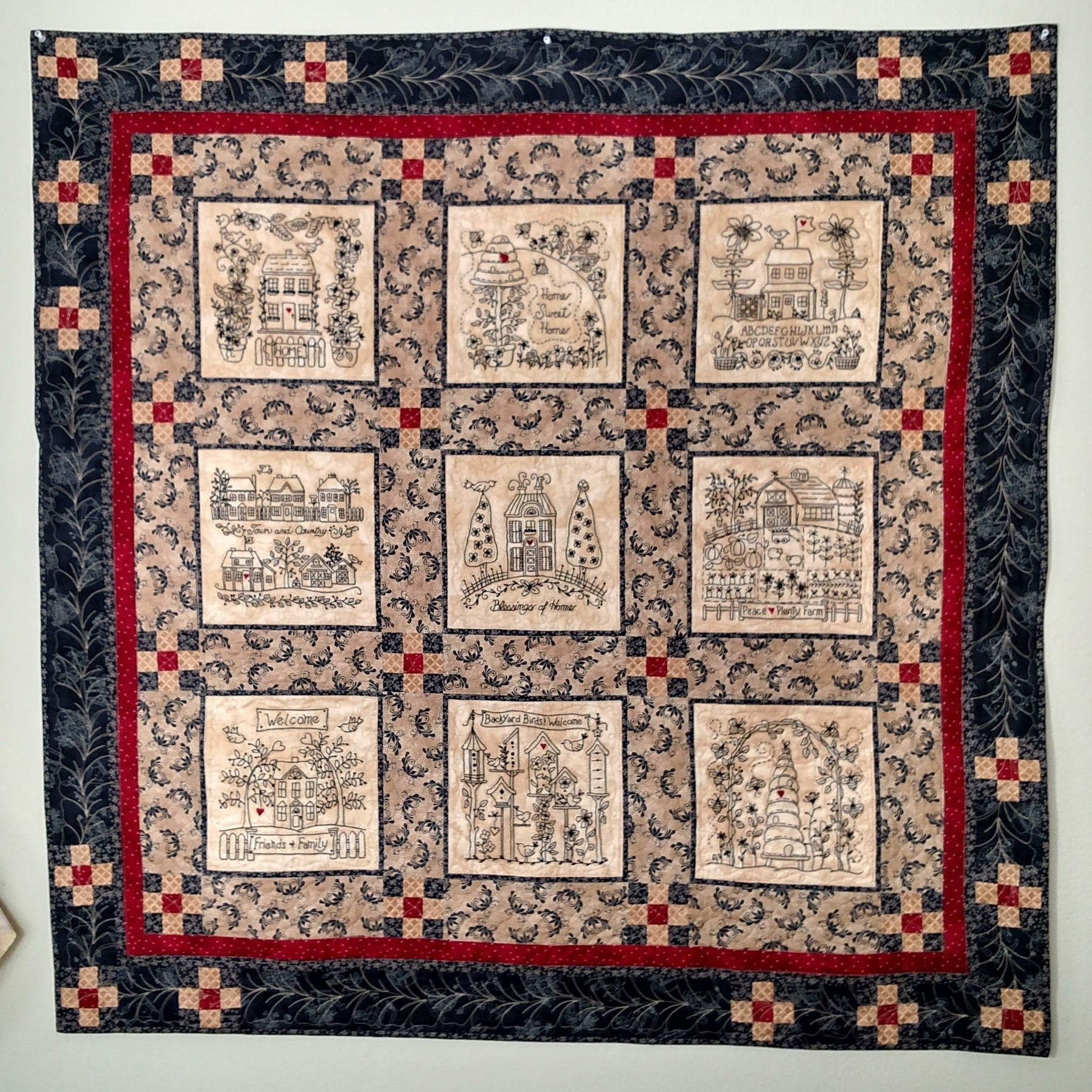 """Elegant Machine Embroider Warm and Wel Ing """"home"""" Quilt Blocks Embroidery Quilt Patterns Of Contemporary 50 Pictures Embroidery Quilt Patterns"""