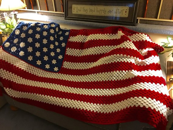 Elegant Made to order American Flag Inspired Crochet Blanket 46 6 American Flag Crochet Blanket Of Gorgeous 42 Ideas American Flag Crochet Blanket