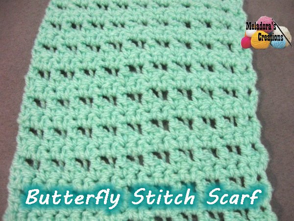 Meladoras Creations – Butterfly Stitch Scarf – Free