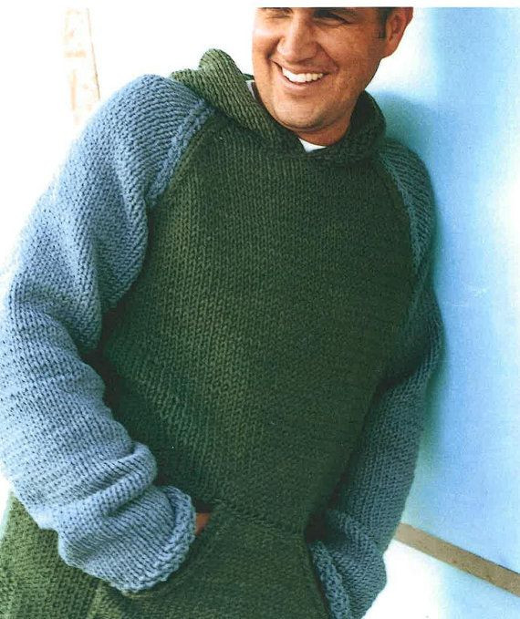 mens and boys hooded sweater knitting pattern