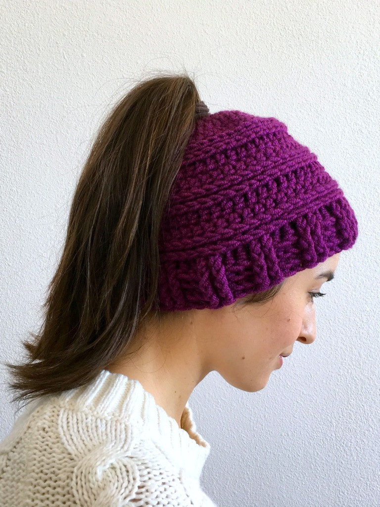 Messy Bun Hat Crochet Pattern free crochet pattern for a