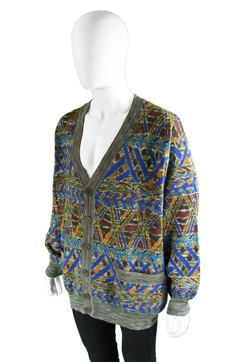 Elegant Missoni Men S Vintage Multicolored Patterned Wool Cardigan Mens Patterned Cardigan Of Charming 50 Models Mens Patterned Cardigan