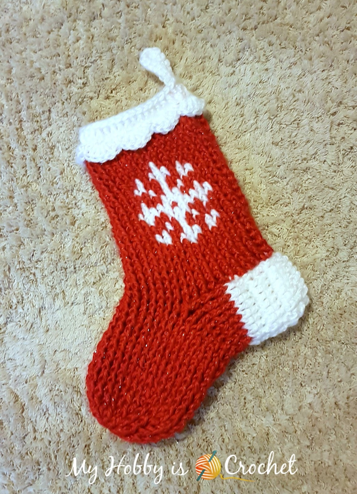 My Hobby Is Crochet Snowflake Christmas Stocking or