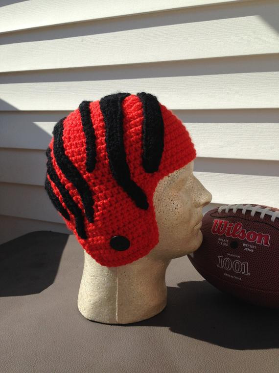 Elegant New Adult Crochet Cincinnati Bengals Nfl Football Helmet Hat Crochet Football Helmets Of Lovely 48 Pics Crochet Football Helmets
