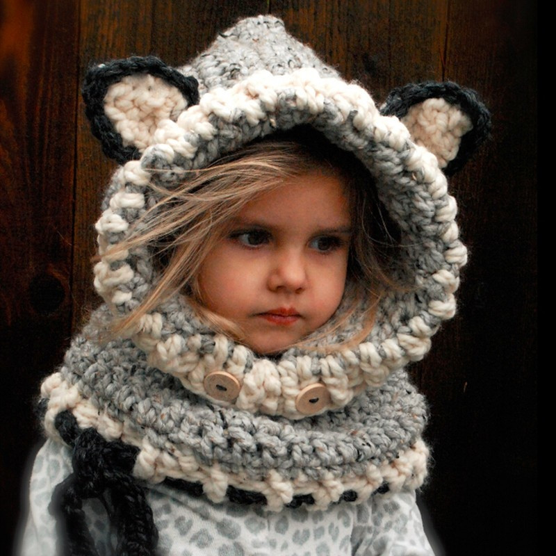 Elegant New Arrival Winter Children Crochet Hooded Cat Cowl Caps Crochet Cowl Neck Scarf Of Superb 49 Models Crochet Cowl Neck Scarf