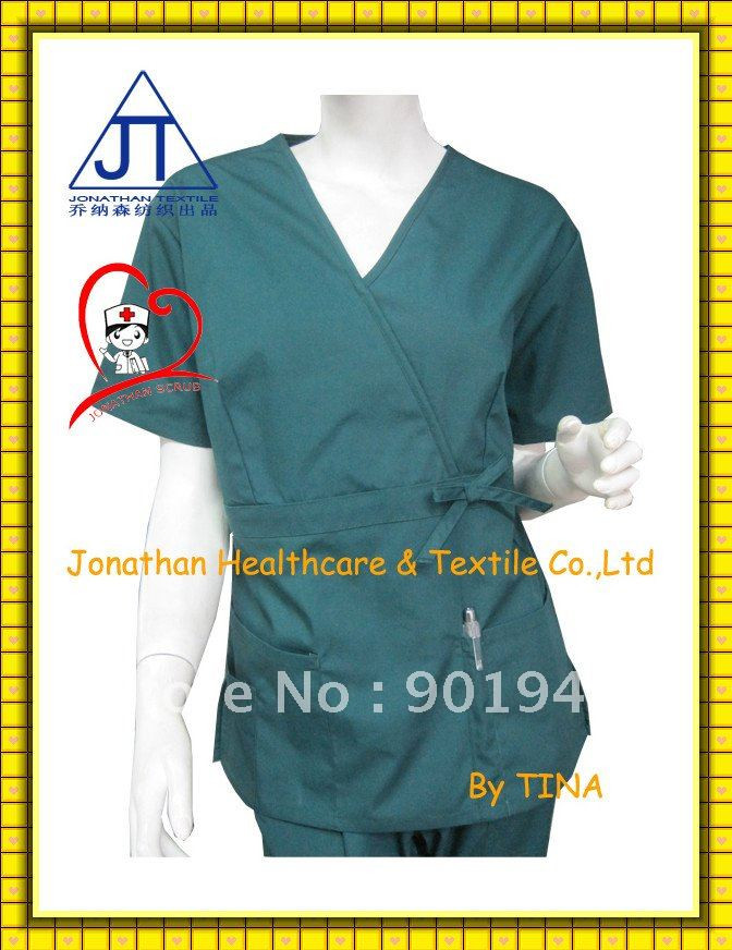 New fashion design polyester cotton nurse scrubs top