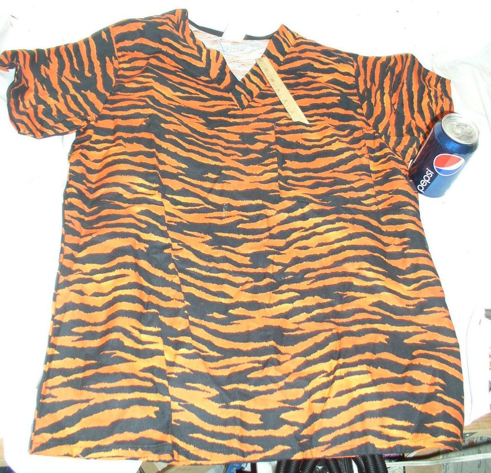 NEW ORANGE TIGER DOCTOR NURSE COTTON SURGICAL SCRUB