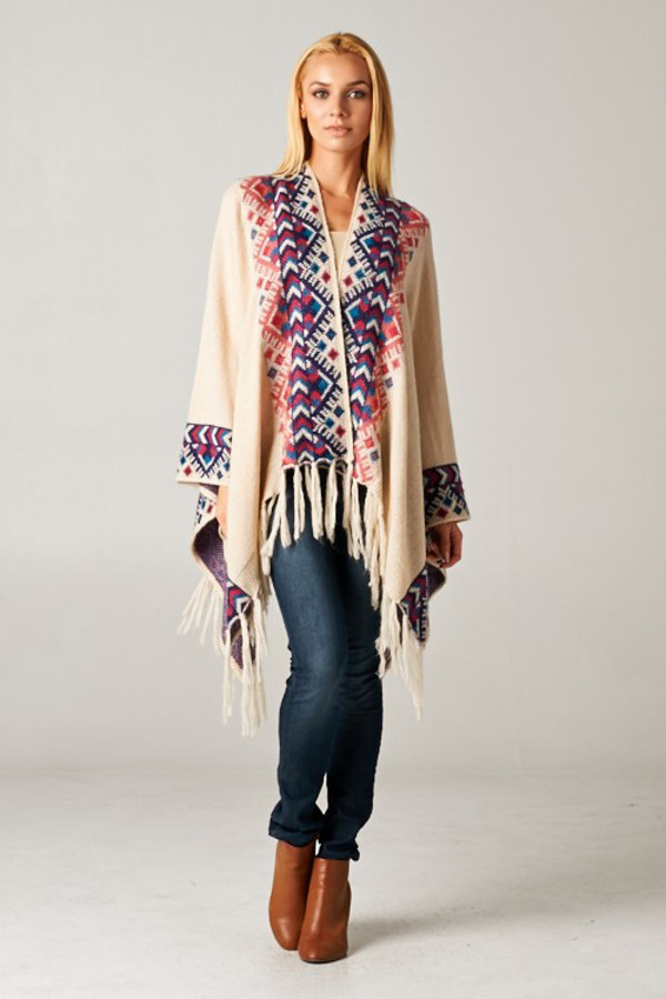 OS New Women Pink Blue Boho Print Cream Knit Cape Front