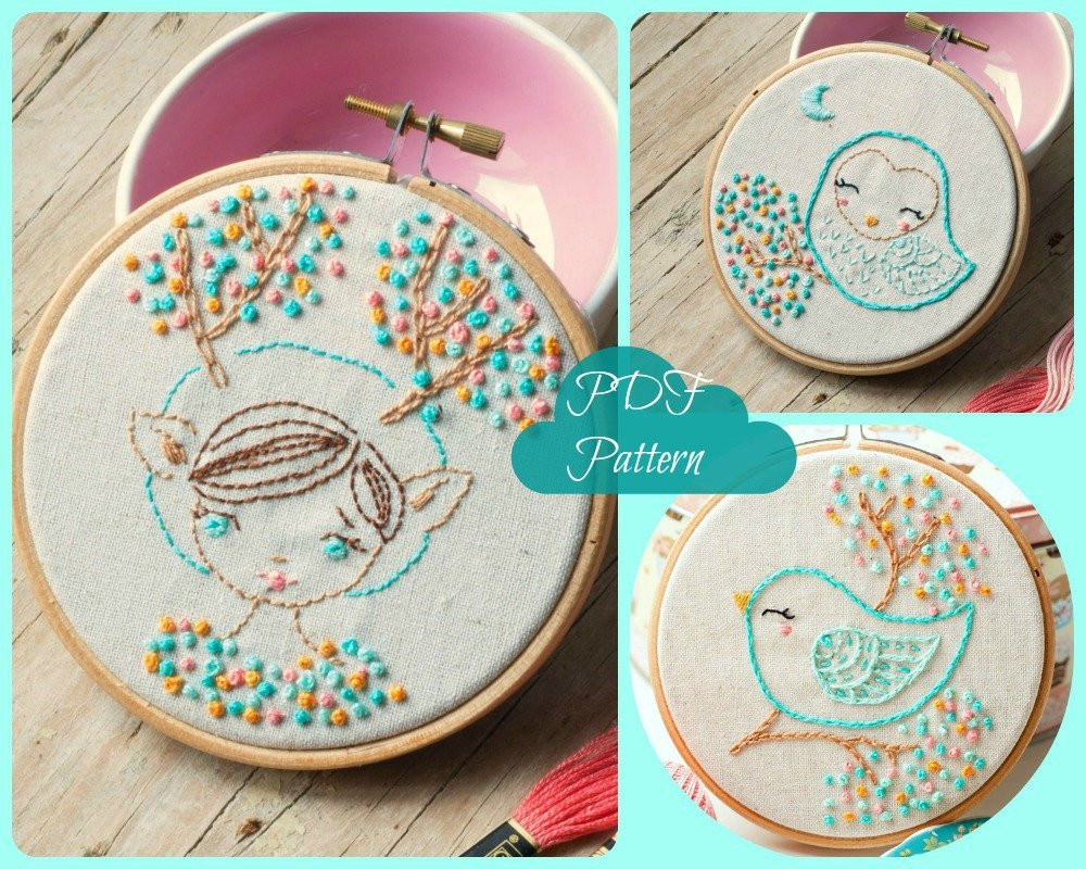 Elegant Pdf Hand Embroidery Pattern Deer Girl Owl and Bird Modern Embroidery Patterns Of Brilliant 49 Pics Modern Embroidery Patterns