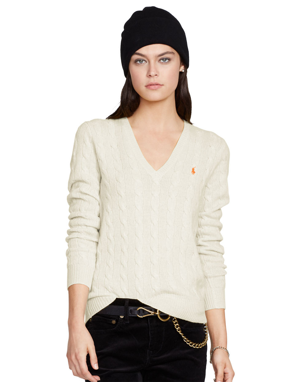 Polo ralph lauren Cable Knit V Neck Sweater in Natural