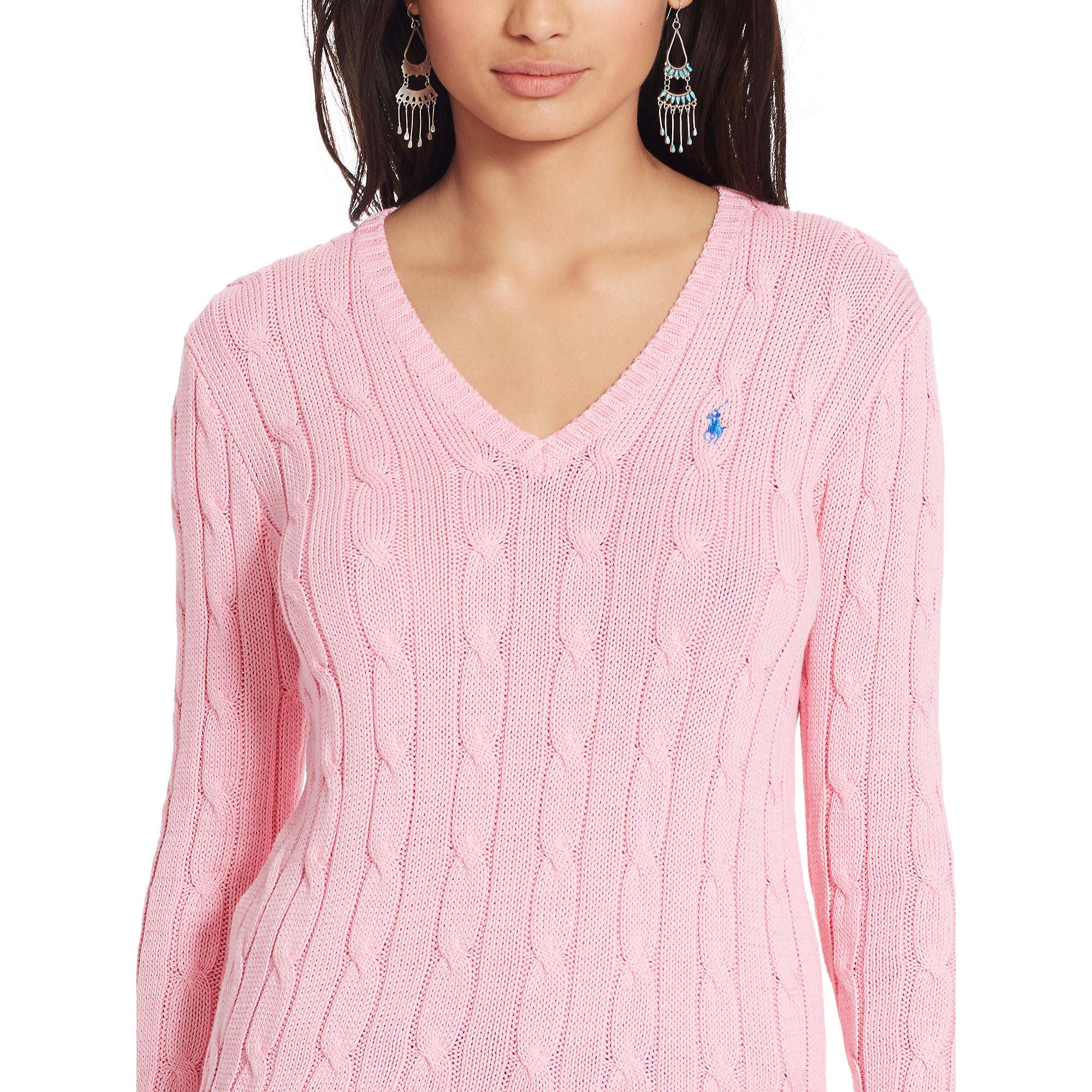 Polo ralph lauren Cable knit V neck Sweater in Pink