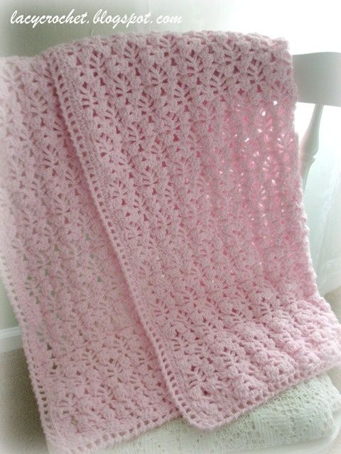 Pretty Lacy Stitch for a Baby Blanket free pattern on Lacy