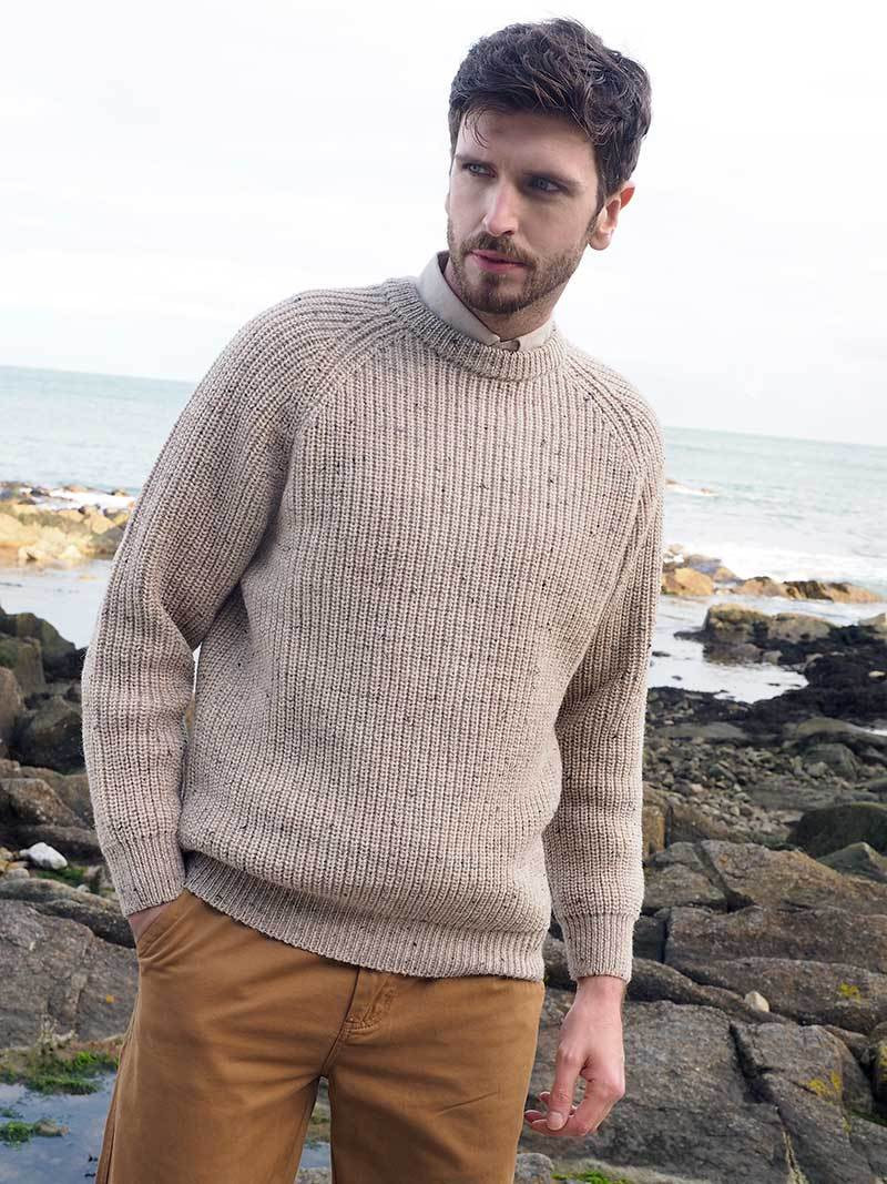 Pure Wool Ribbed Irish Fisherman Sweater – Aran