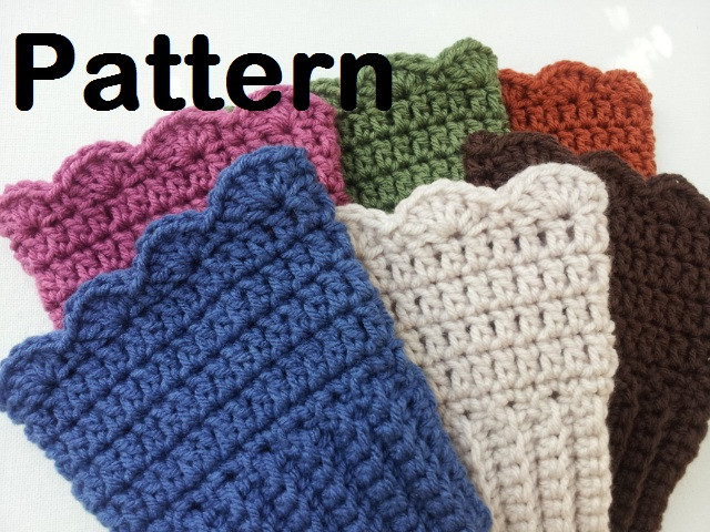 featured pattern crochet boot cuffs