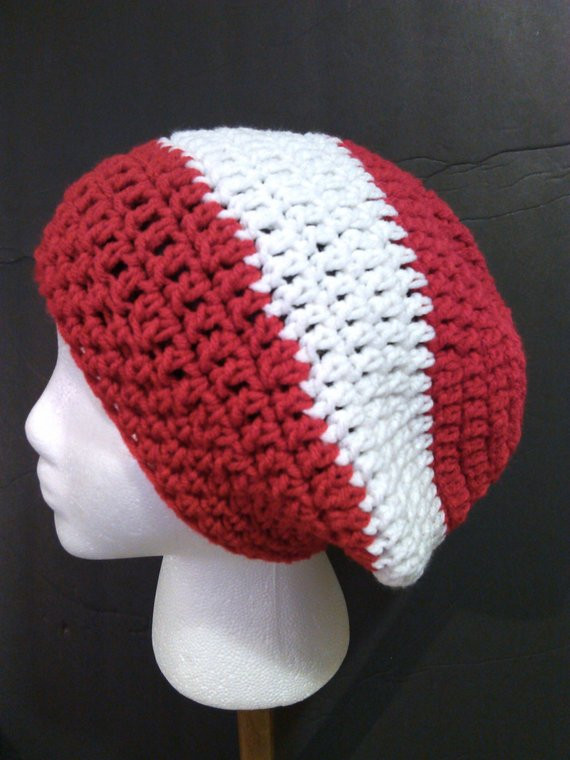Elegant Red and White Striped Slouchy Beanie Ready to Ship 1131 Red Slouchy Beanie Of New 50 Models Red Slouchy Beanie