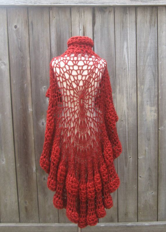 RED CAPE PONCHO Crochet Knit Shawl Sweater by marianavail