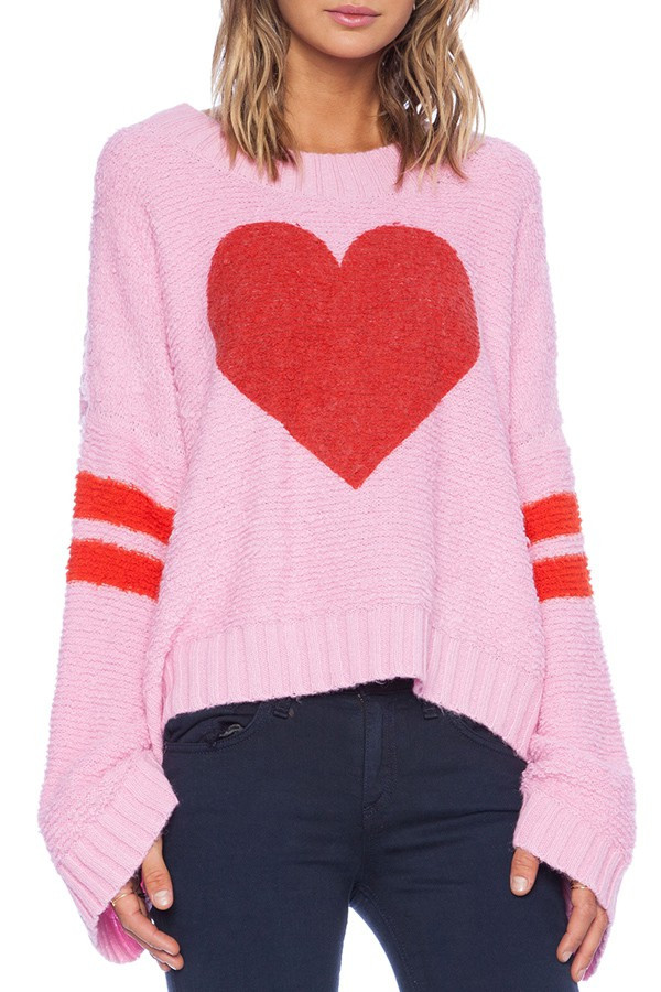 Elegant Red Heart Pattern Long Sleeve Sweater Red Heart Sweater Of Fresh Free Pattern Summer Night Sweater In Red Heart soft Red Heart Sweater