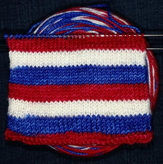 self striping sock yarn red white blue