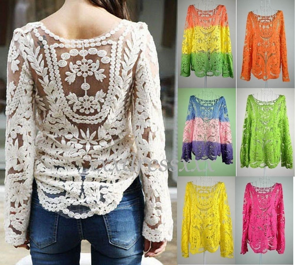 Elegant Semi Sheer Women Sleeve Embroidery Floral Lace Crochet T Crochet Shirts Of Brilliant 43 Ideas Crochet Shirts