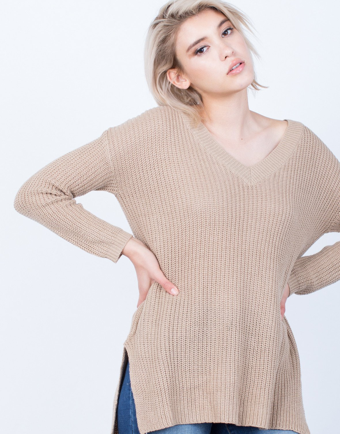 Elegant Simple Chunky Knit Sweater top Long Sleeve top V Neck Easy Knit Sweater Of Brilliant 50 Images Easy Knit Sweater