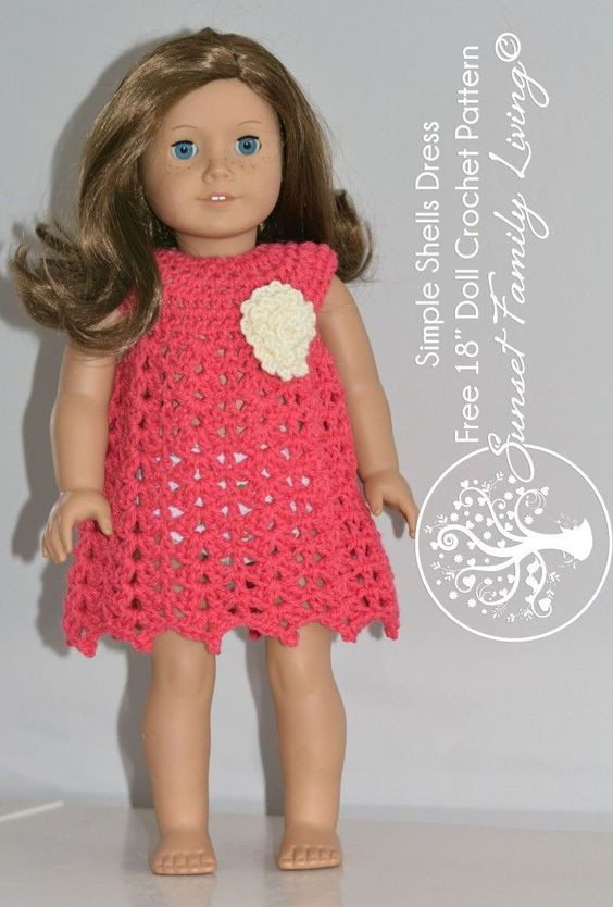 """Elegant Simple Shells Dress for American Girl or Other 18"""" Dolls Free Crochet Patterns for American Girl Dolls Clothes Of Adorable 50 Pictures Free Crochet Patterns for American Girl Dolls Clothes"""