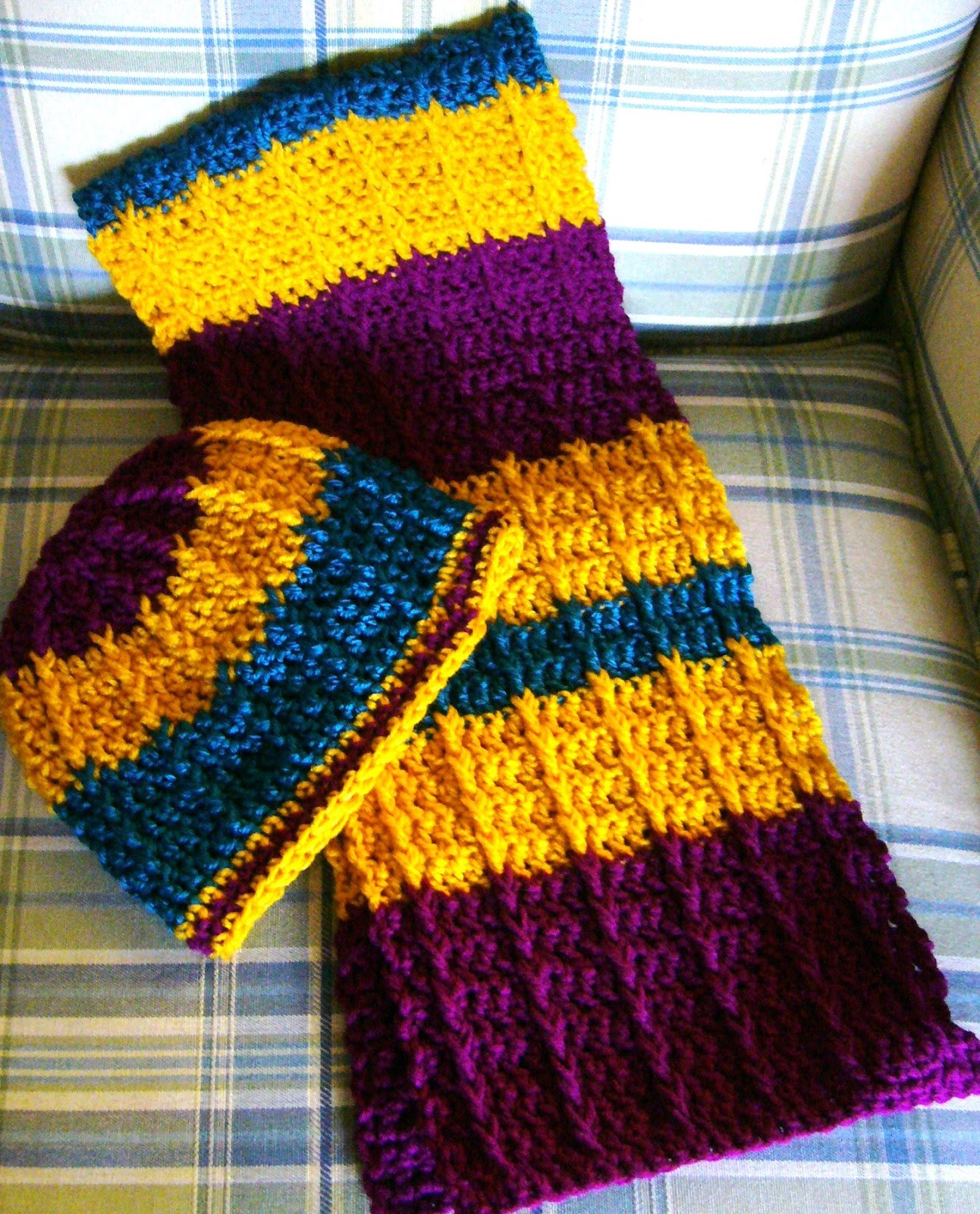 double crochet front post crochet scarf