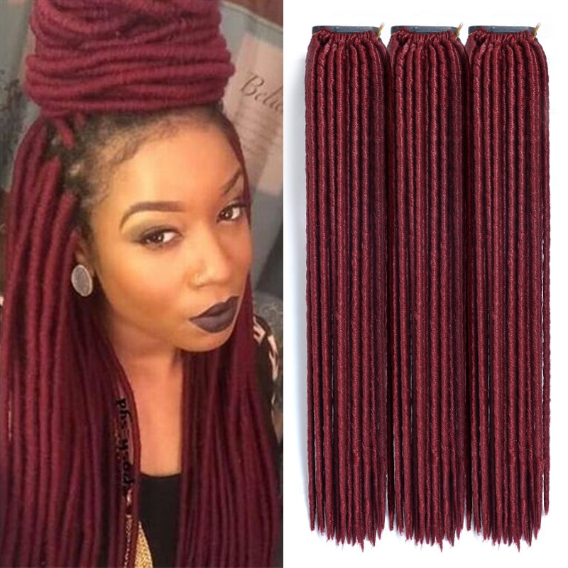 Elegant soft Dread Hair Red Synthetic Hair Extensions 6 Pcs Lot Burgundy Faux Locs Crochet Of Beautiful 41 Models Burgundy Faux Locs Crochet