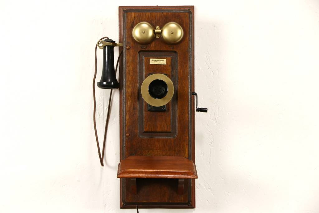 SOLD Oak Western Electric Signed Antique Wall Phone