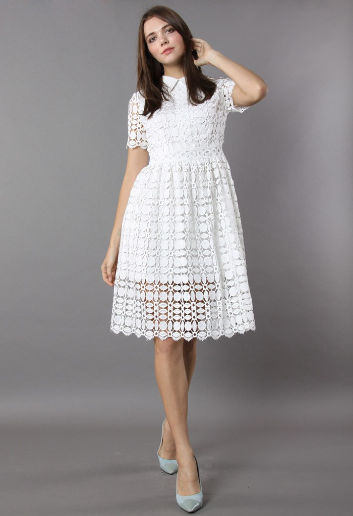 Splendid Crochet White Dress Retro In and Unique Fashion