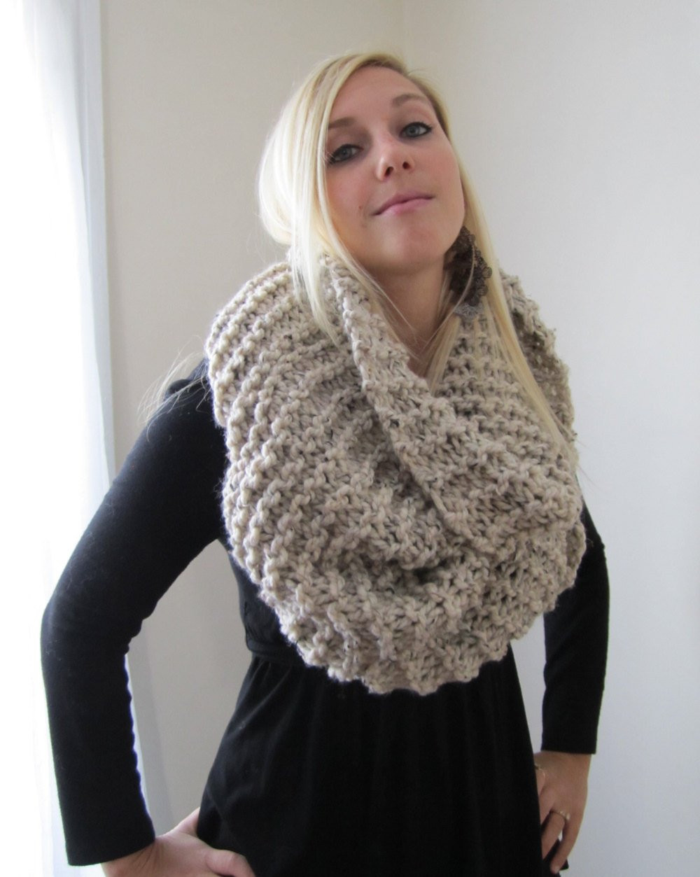 Elegant Super Snuggly Chunky Knit Cowl Oatmeal Infinity Scarf Chunky Scarf Pattern Of Marvelous 49 Photos Chunky Scarf Pattern