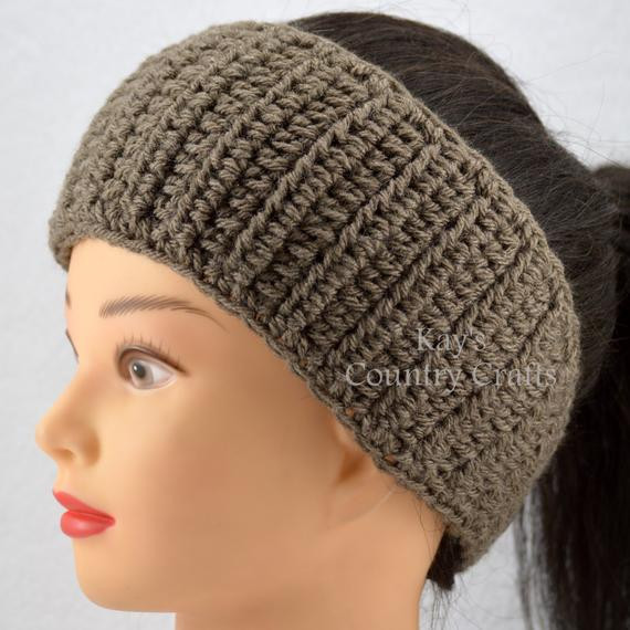 Taupe Ear warmer Headband Head wrap Crochet by