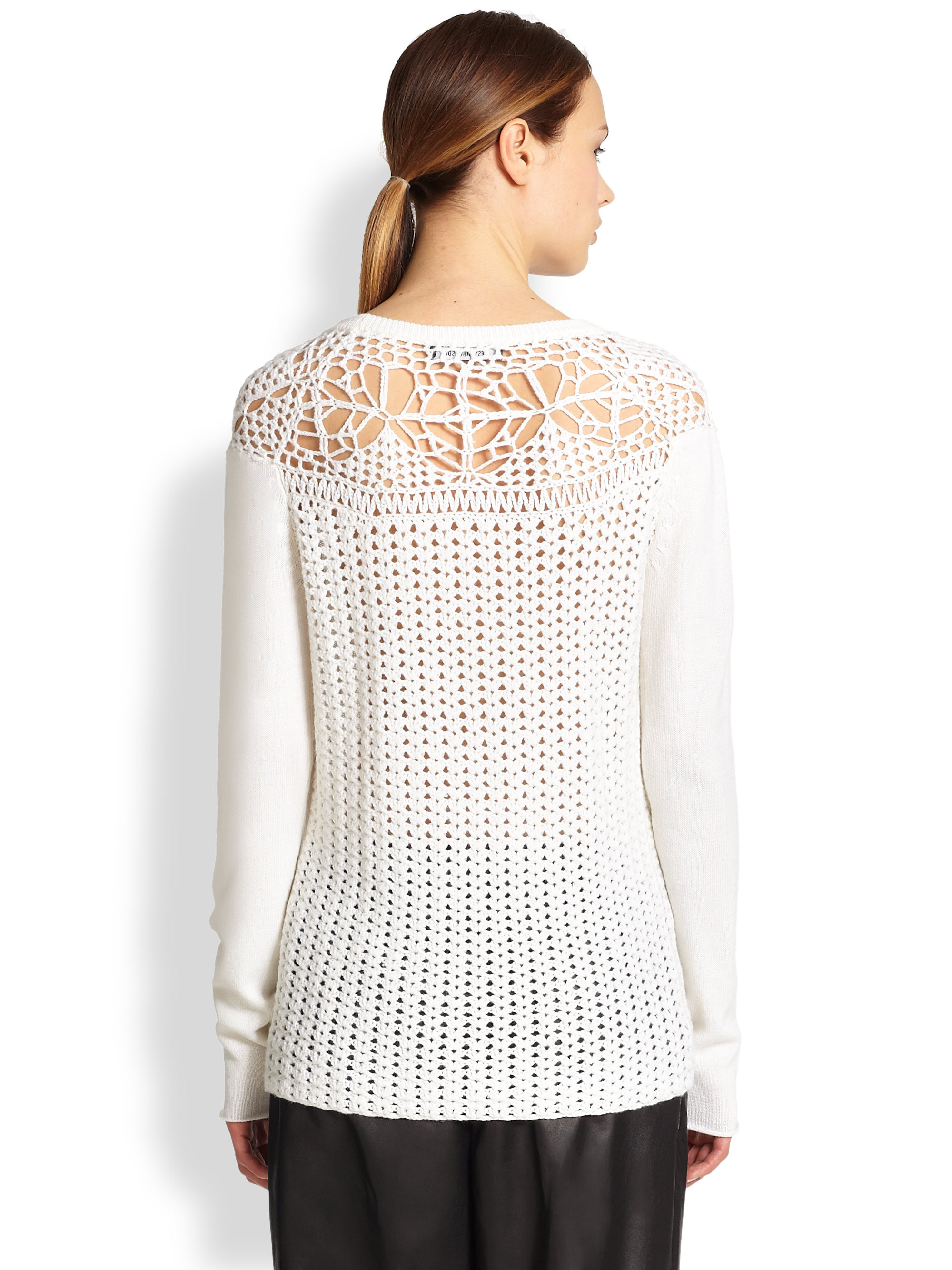 Elegant Tess Giberson Crochet Detail Sweater In White White Crochet Sweater Of Wonderful 44 Ideas White Crochet Sweater