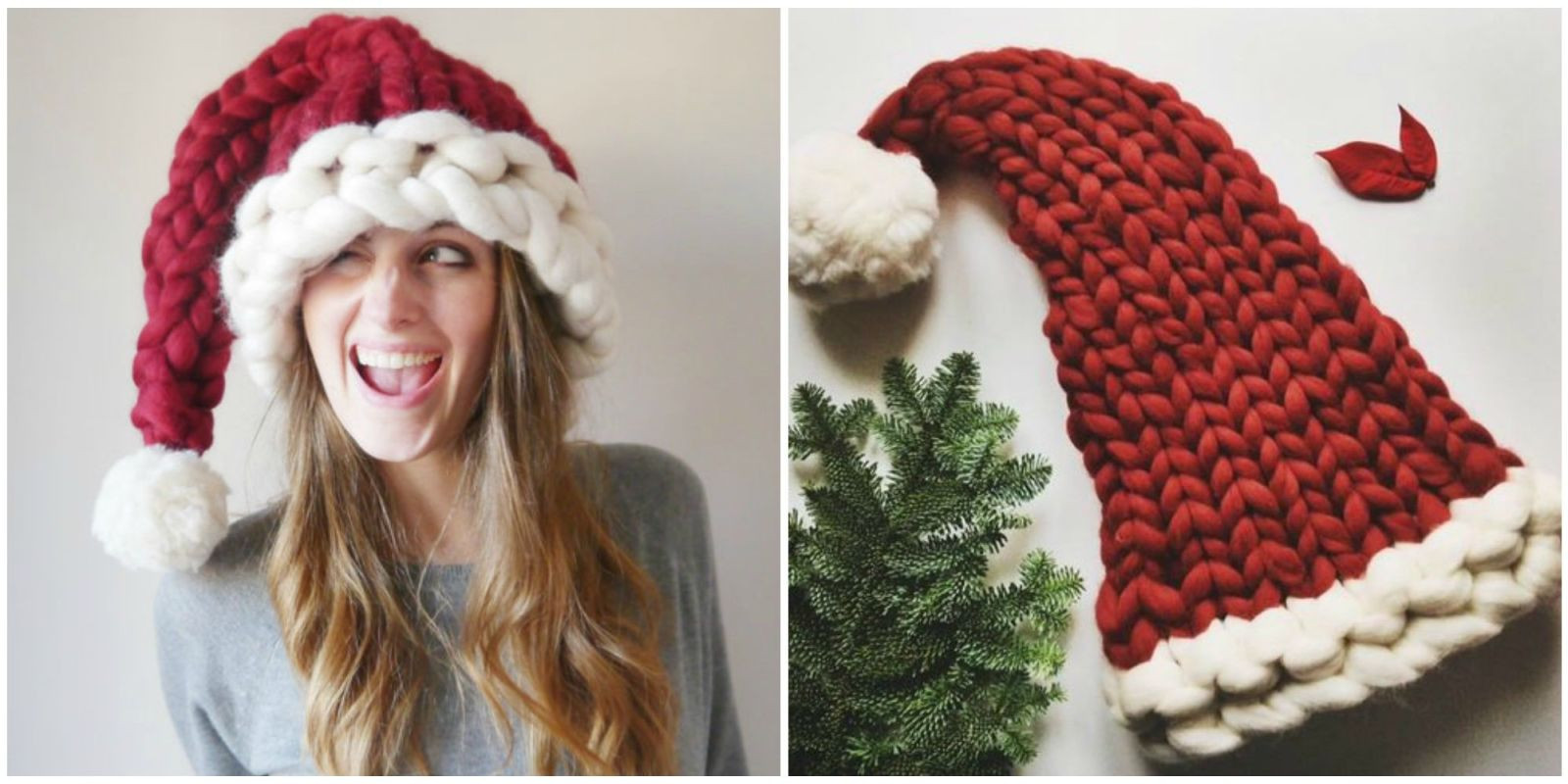 Elegant This Chunky Knit Santa Hat Will Be the Coziest Thing You Knitted Christmas Hats Of Adorable 50 Models Knitted Christmas Hats