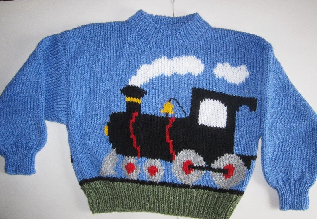 Elegant Train Motif Childrens Sweater 2 8 Years Thomas Fans Aran Knitting Patterns for Childrens Sweaters Of Charming 47 Models Knitting Patterns for Childrens Sweaters