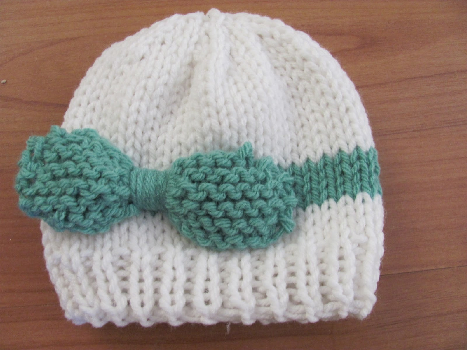 knitted baby bow hat
