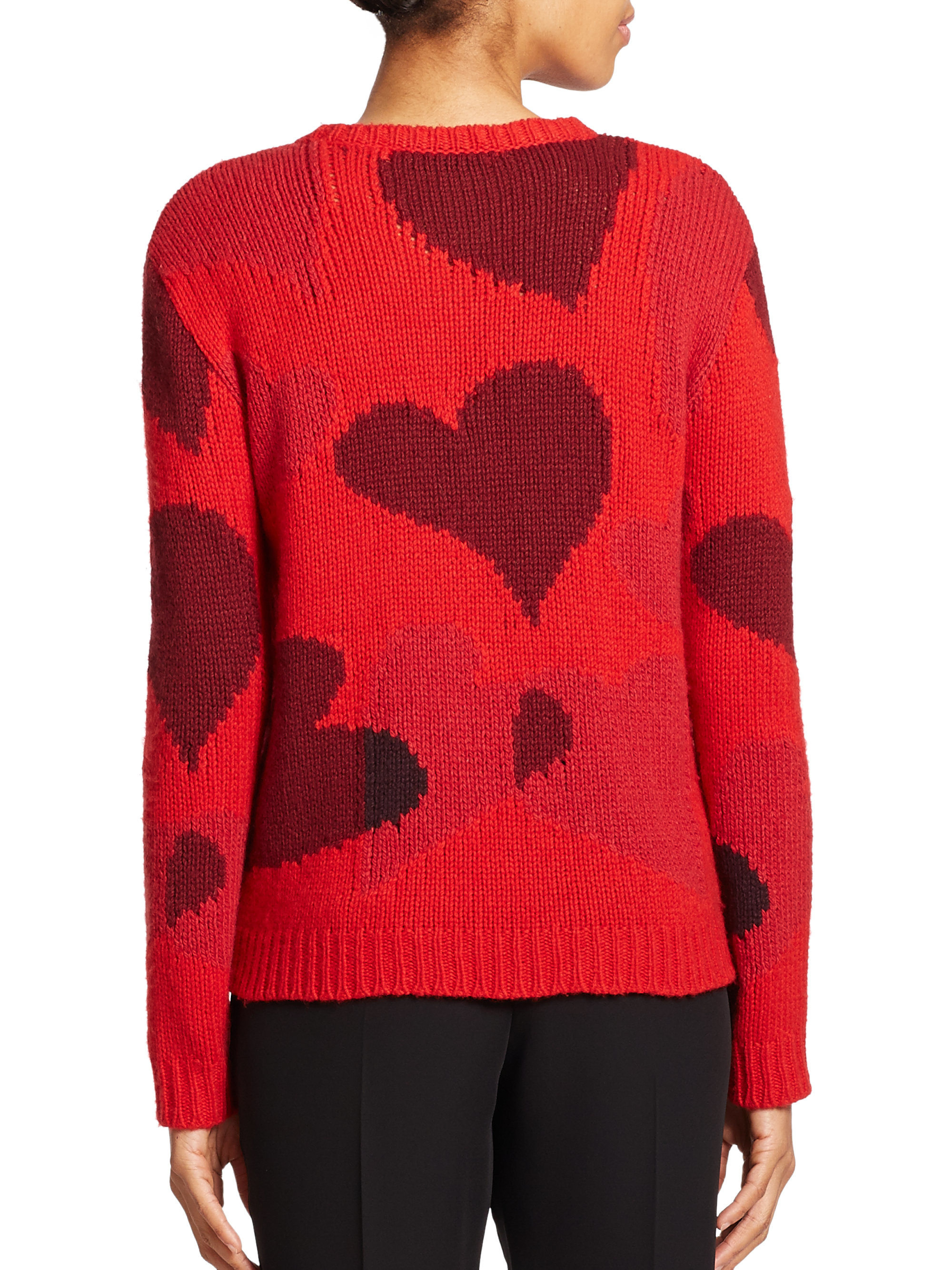 Elegant Valentino Heart Intarsia Cashmere Sweater In Red Red Heart Sweater Of Lovely 32 Ideas Red Heart Sweater